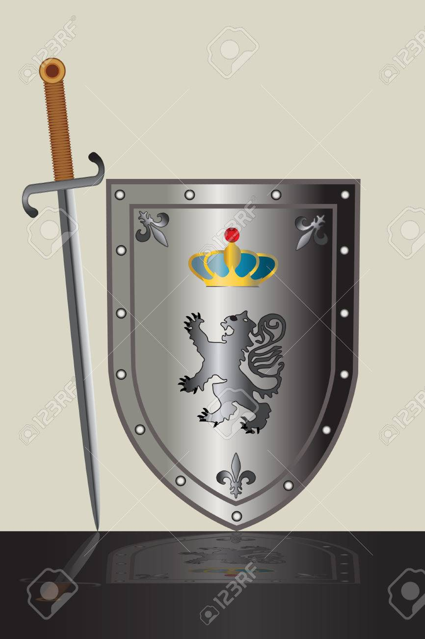 Sword and shield decorated with coat of arms. Stock Vector - 6511040