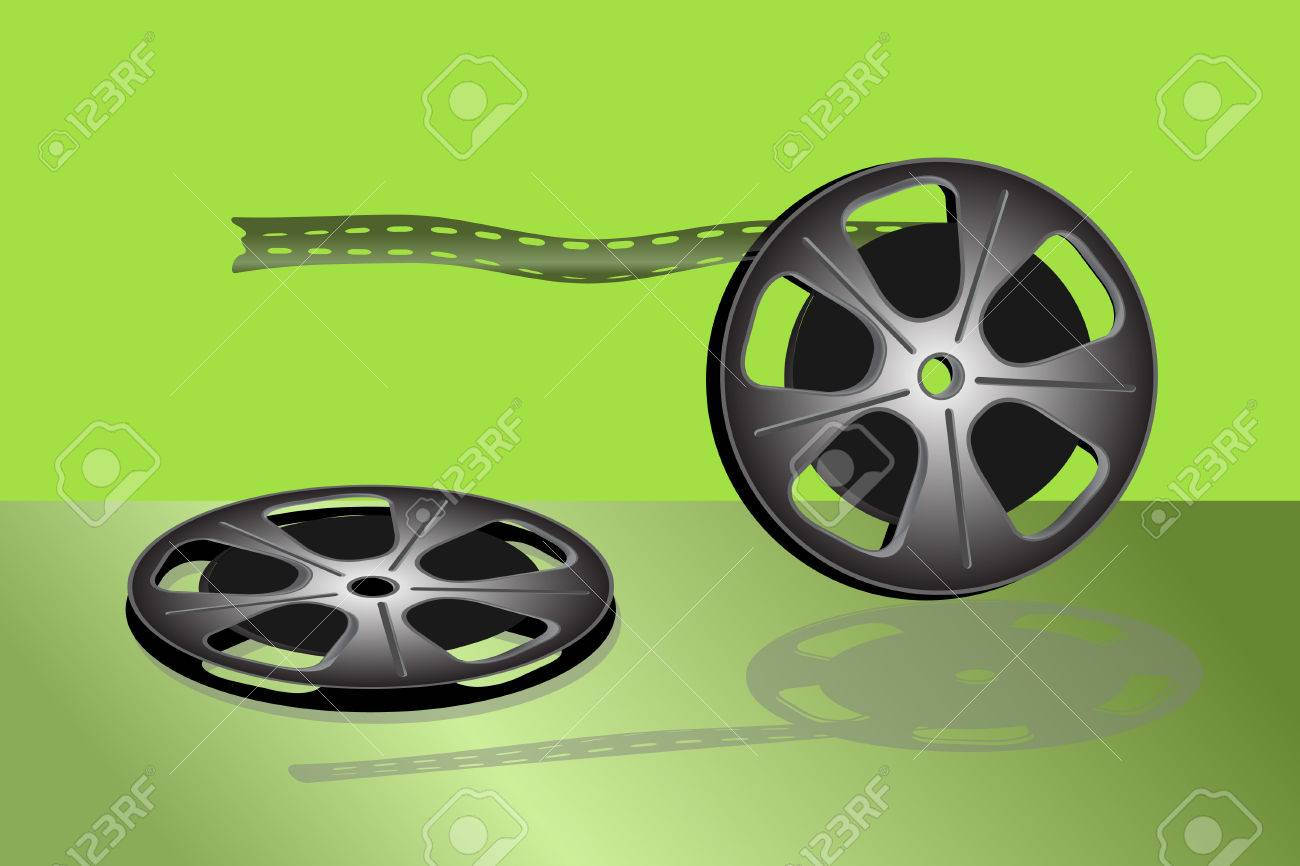 Cinema video film isolated on green background Stock Vector - 6552142