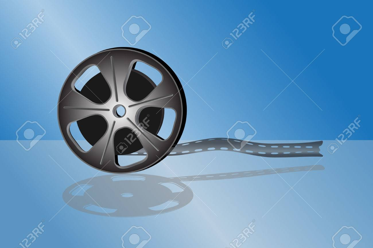 Cinema video film isolated on blue background Stock Vector - 6552143