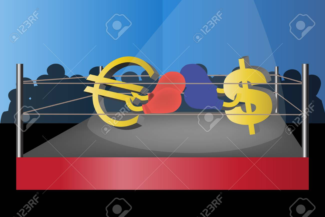 3d rendered illustration of a fight between euro and dollar Stock Vector - 6631244