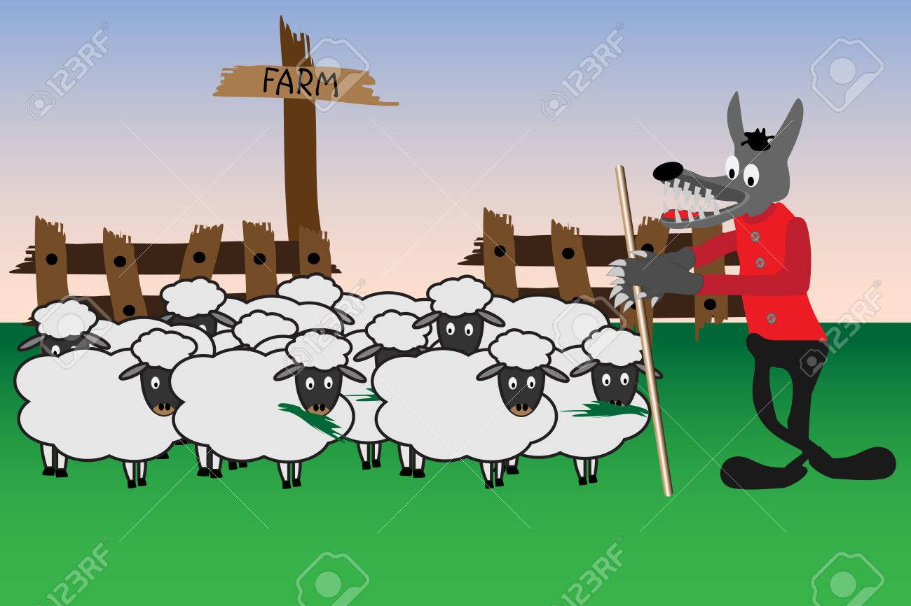 Cartoon illustration with wolf which is guard at the sheep gang Stock Vector - 8203393