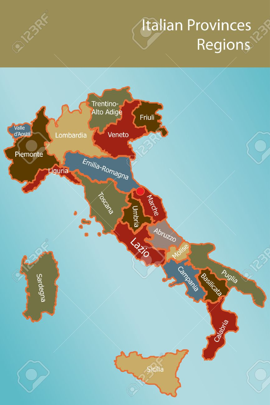 Map of Italy with provinces and regions name in italian Stock Vector - 8203397