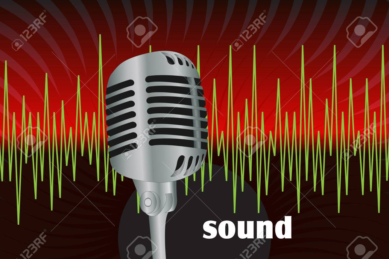 Graphic illustration of microphone and sound waves Stock Vector - 8527823