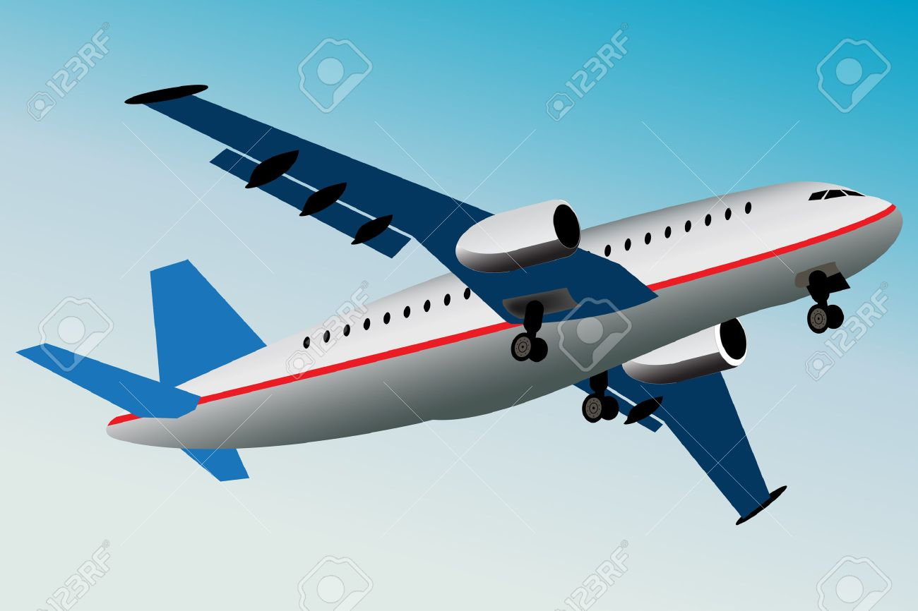 Graphic illustration of commercial airplane what is flying away. Stock Vector - 8527825