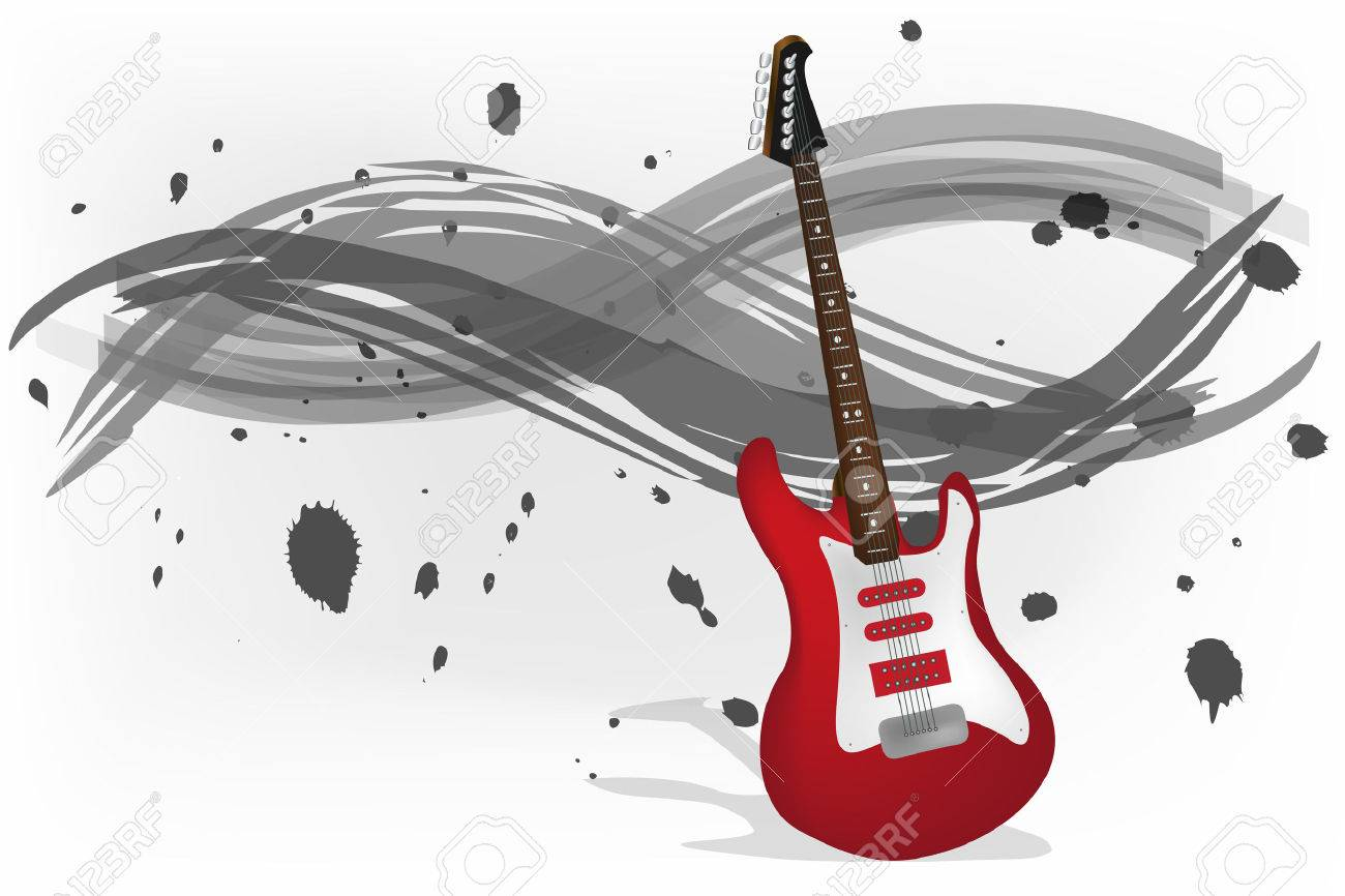 Graphic illustration of electric guitar with monochromatic background Stock Vector - 8553285