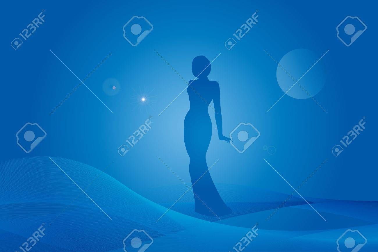 Woman silhouette on fantasy blue background Stock Vector - 9474985