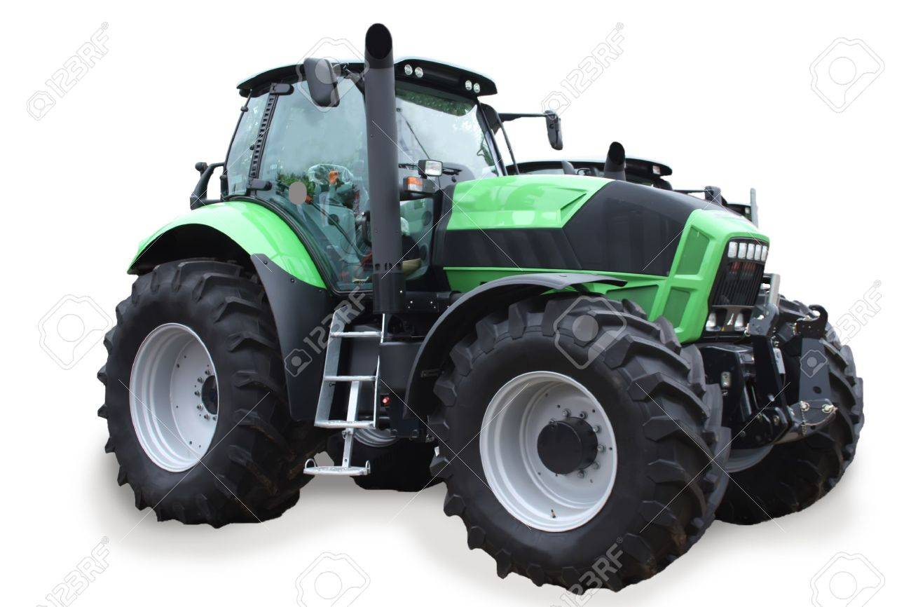 Scene with a new tractor isolated on white background Stock Photo - 9673840