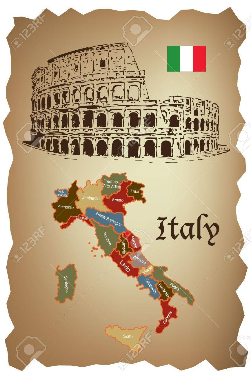 Italy map and Colloseum on old paper Stock Vector - 10038077