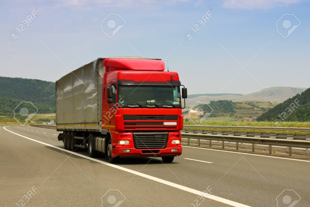 Gilau, Romania - July 20, 2011 - Truck on asphalt road in a summer day Stock Photo - 10051981