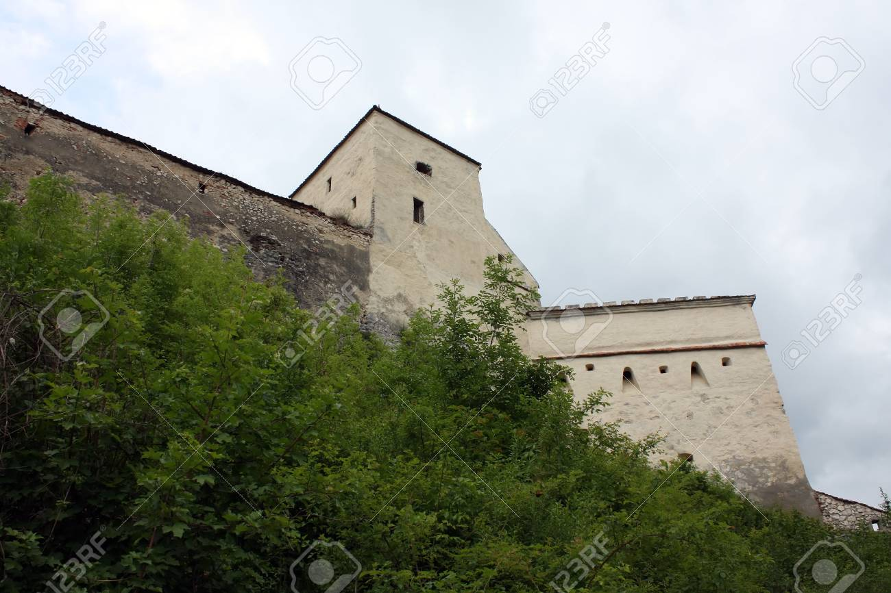 Rasnov, Romania - 13.05.2012 - A defense tower from Rasnov fortress Stock Photo - 13668727