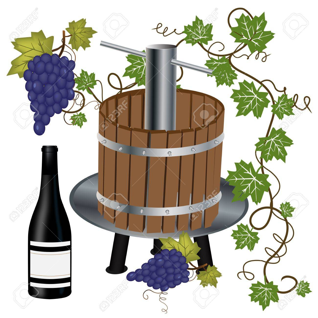 Graphic illustration of wine press with bottle and grapes Stock Vector - 14032544