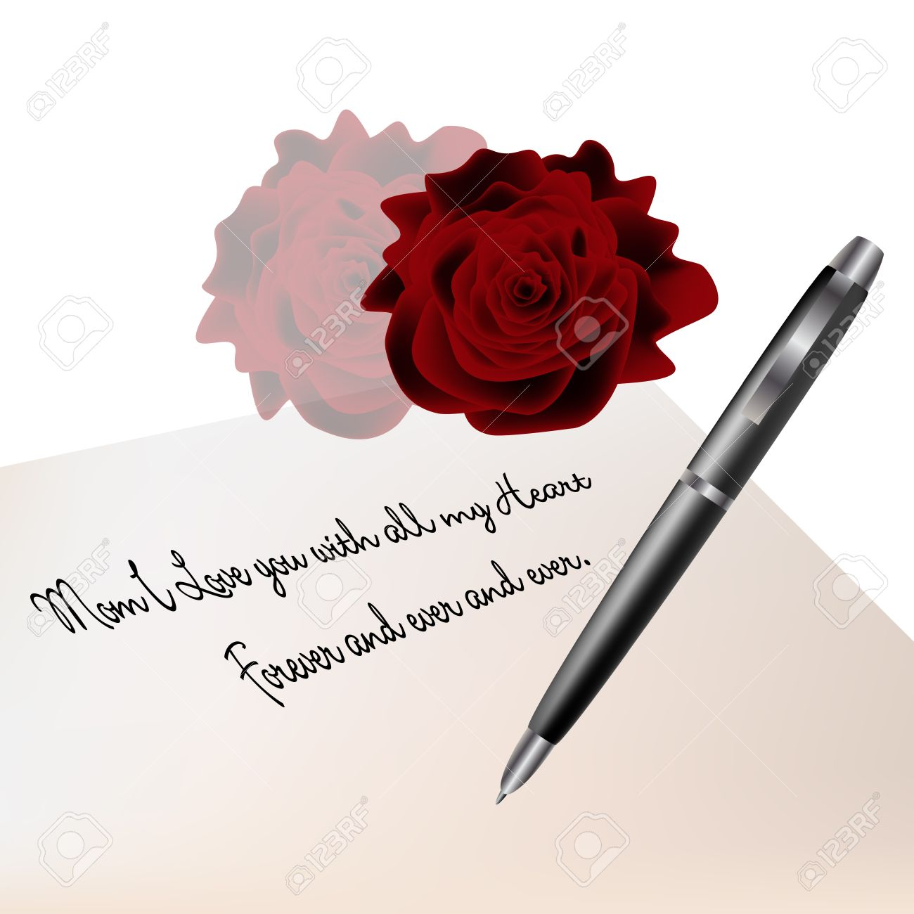 Graphic Illustration Of Romantic Love Letter With Pen And Roses Stock  Vector   14957887