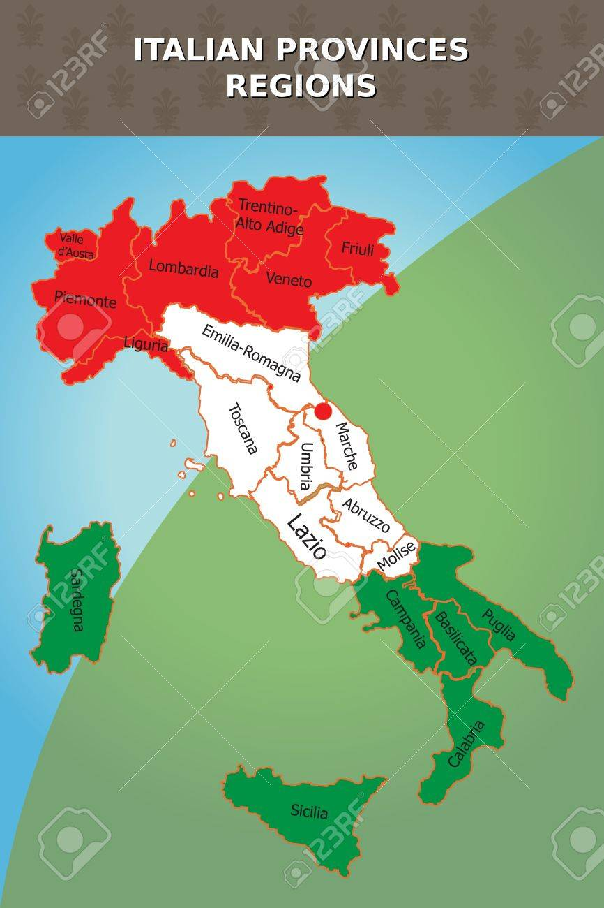 Graphic Illustration Of Italian Map With Provinces And Regions