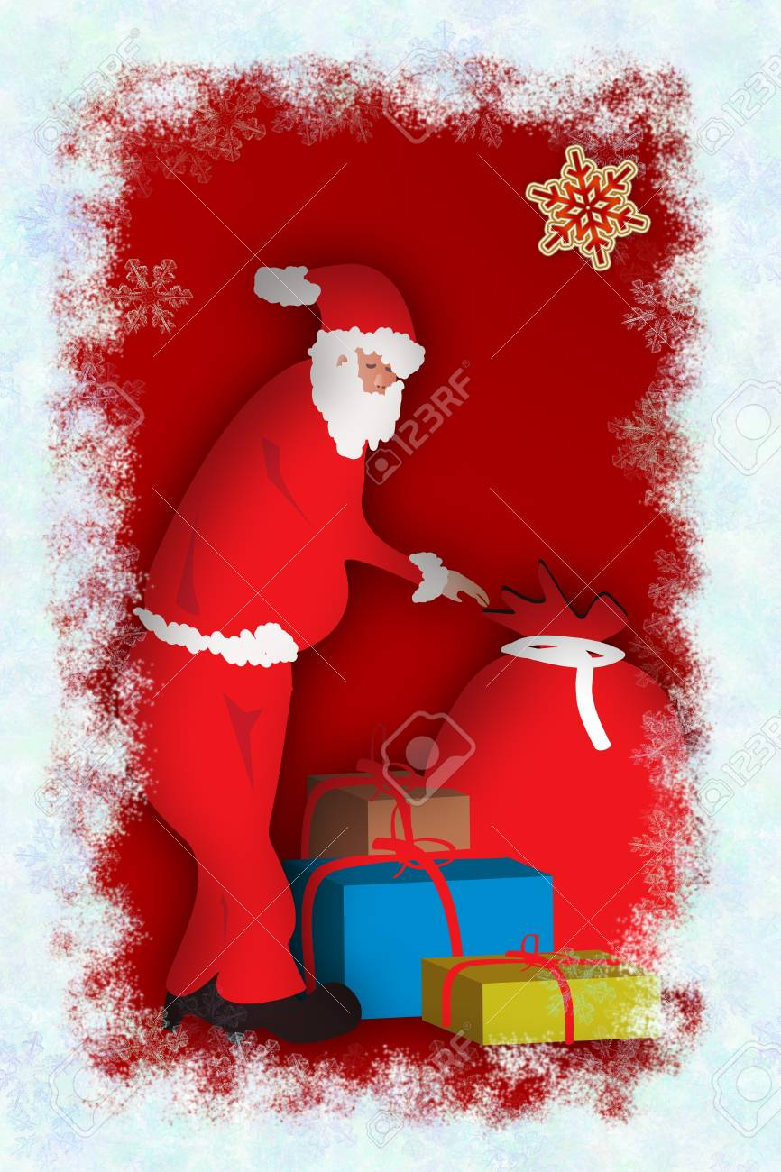 Santa Claus with a big red sack full of gifts Stock Photo - 16748954