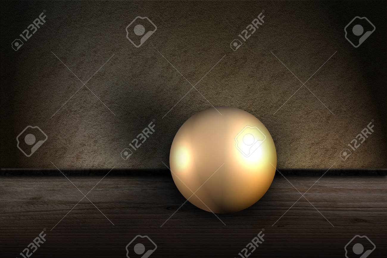 Golden ball in front of wall Stock Photo - 17308164