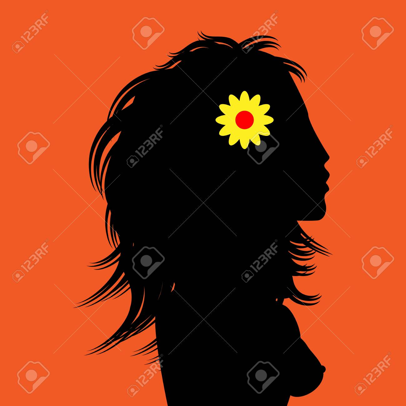 Graphic illustration of an young woman silhouette Stock Vector - 18082152