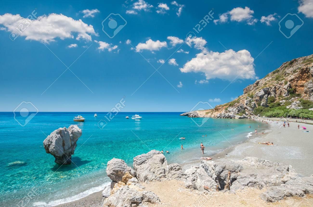 Preveli Beach In Crete Island Greece There Is A Palm Forest