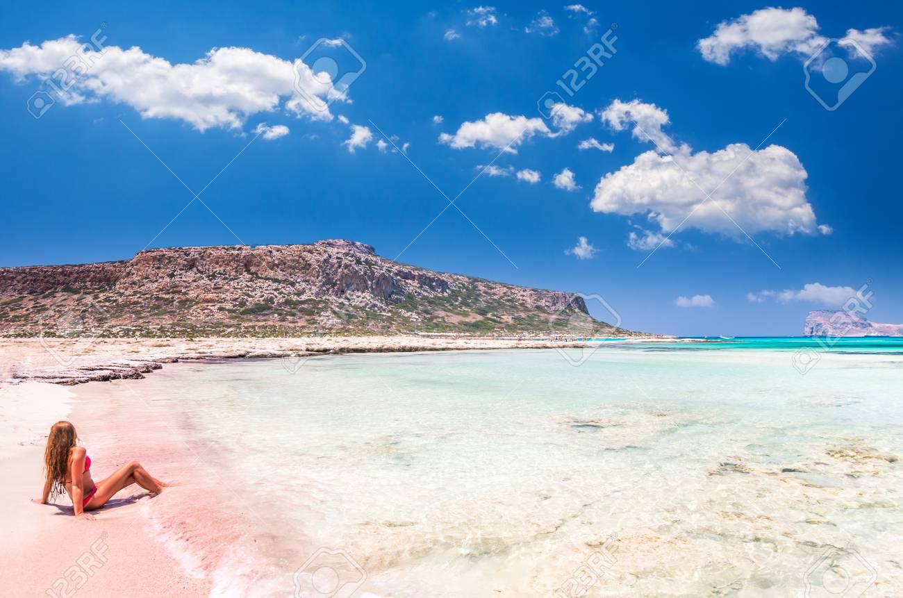 Balos Lagoon On Crete Island Greece A Girl On A Beach With
