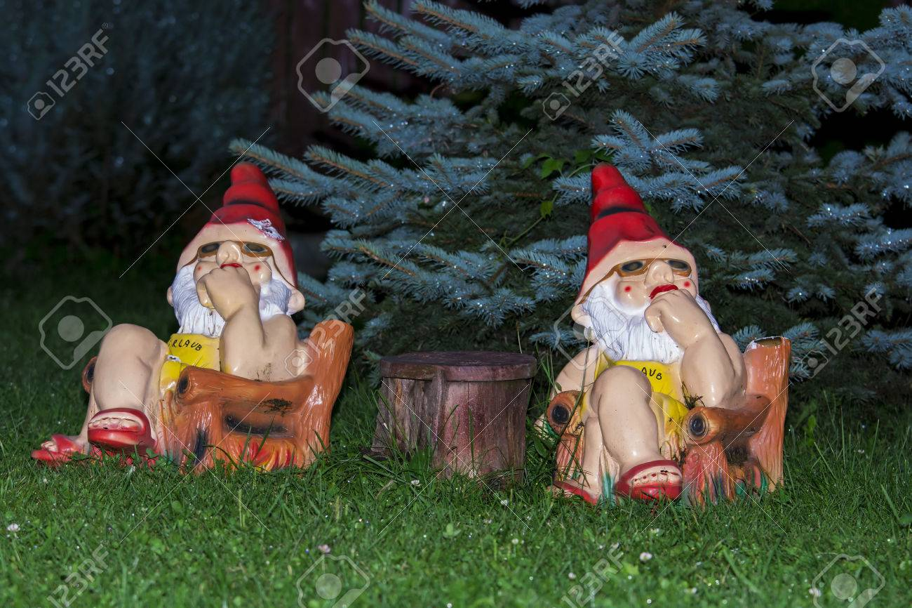 Garden Gnomes Watching And Thinking At Table In Garden Stock Photo    77208865