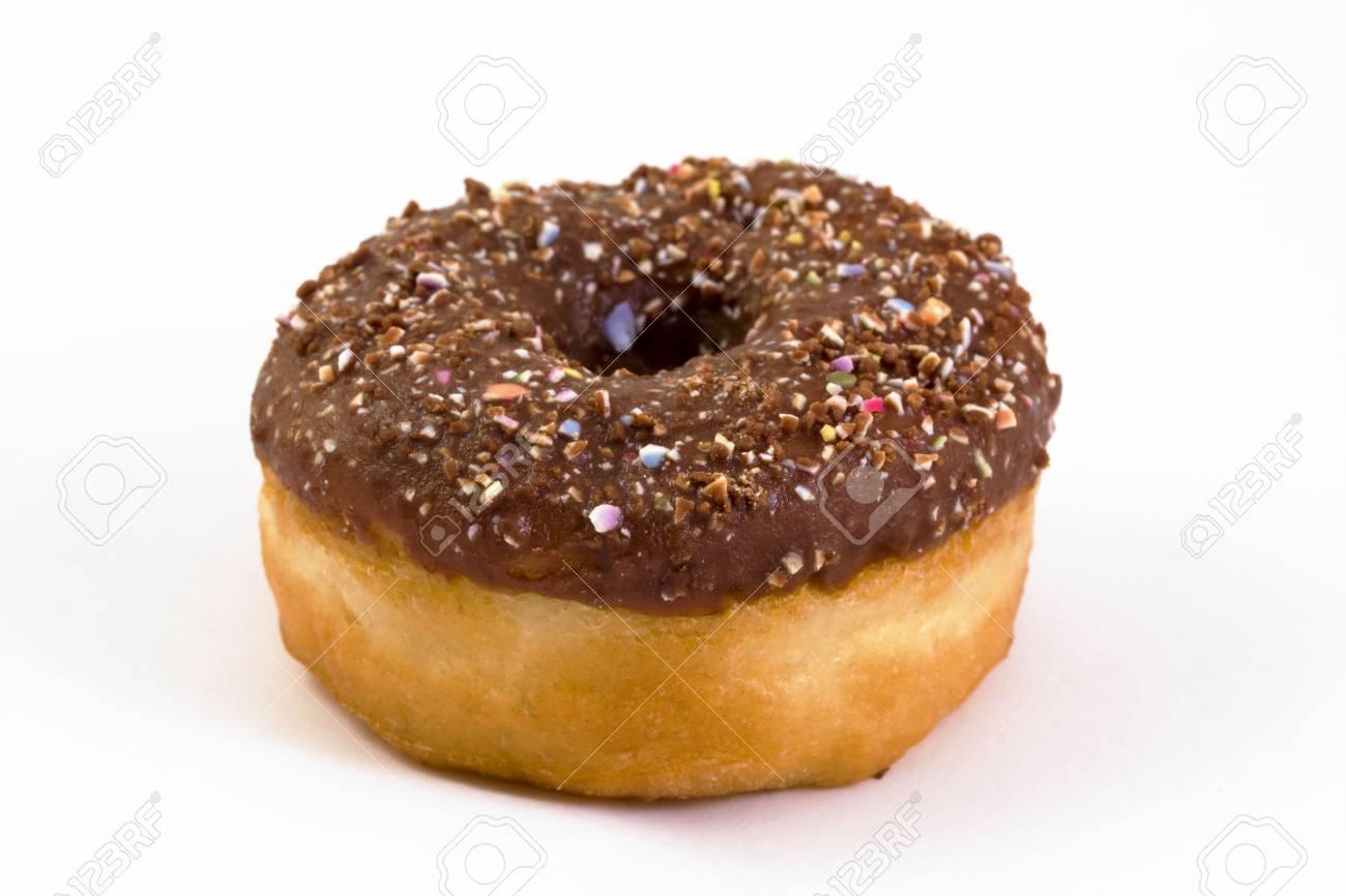 chocolate covered doughnut over white Stock Photo - 6906978