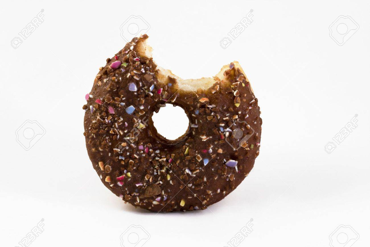 chocolate covered doughnut with a bite taken out over white Stock Photo - 6906973