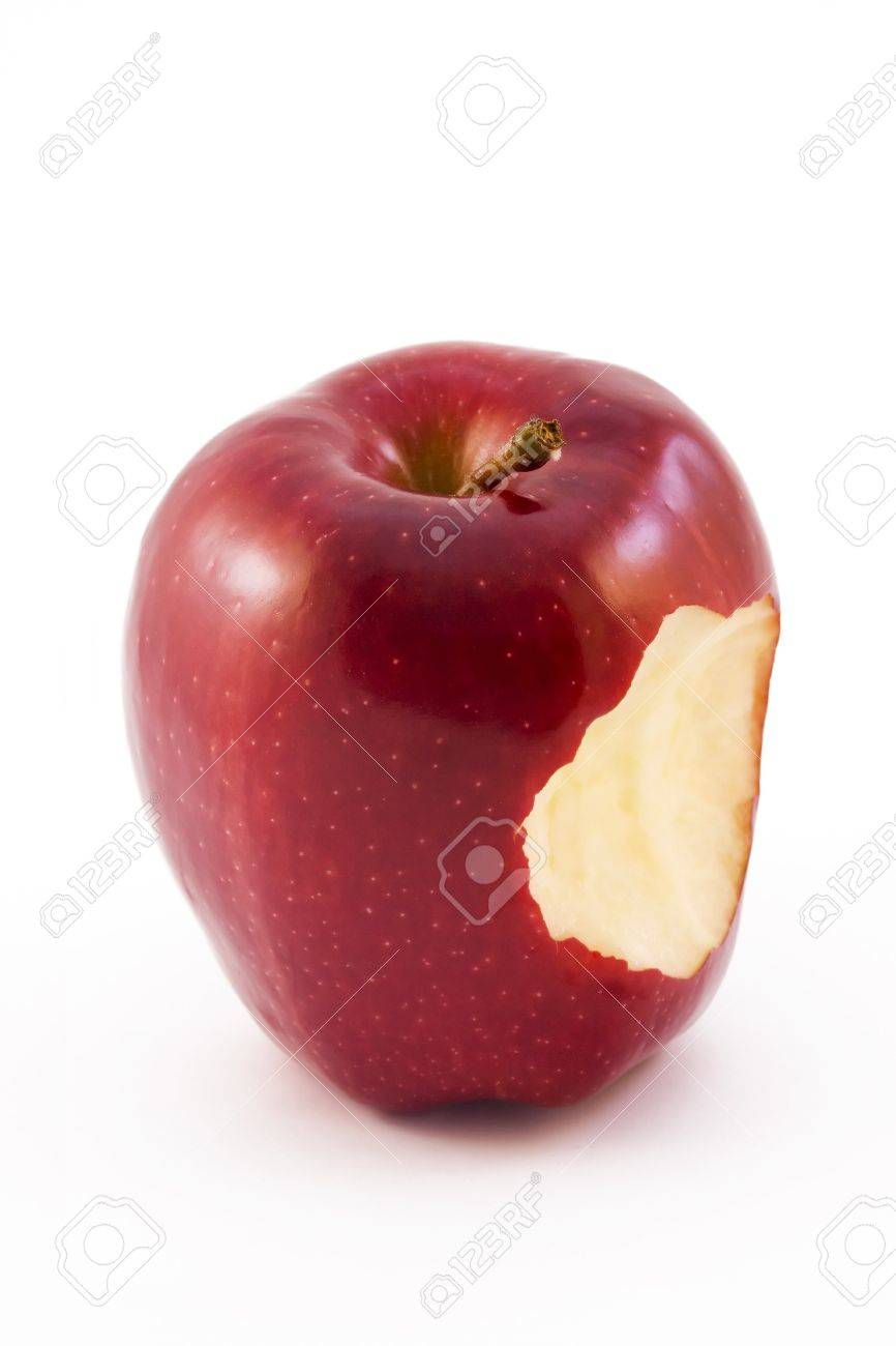 red apple witha bite taken out isolated on a white background Stock Photo - 6992770