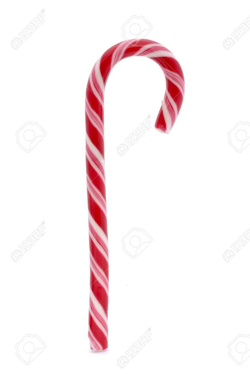 pink stripy candy cane isolated on a white background Stock Photo - 7117488