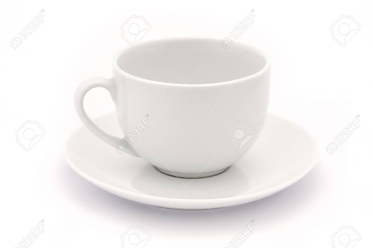 empty white tea cup and saucer over white Stock Photo - 7967241