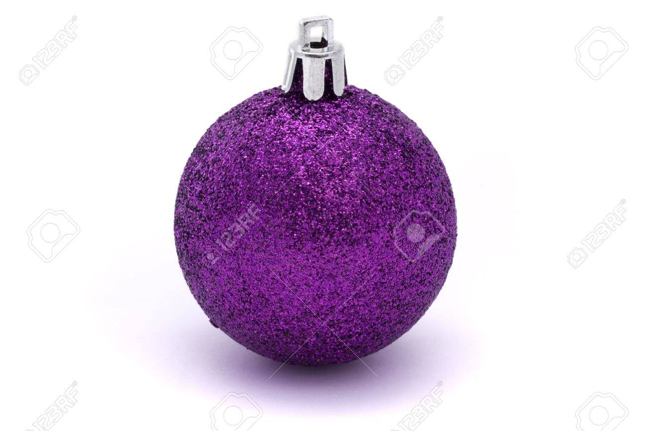 glitting purple christmas bauble over white Stock Photo - 7967249