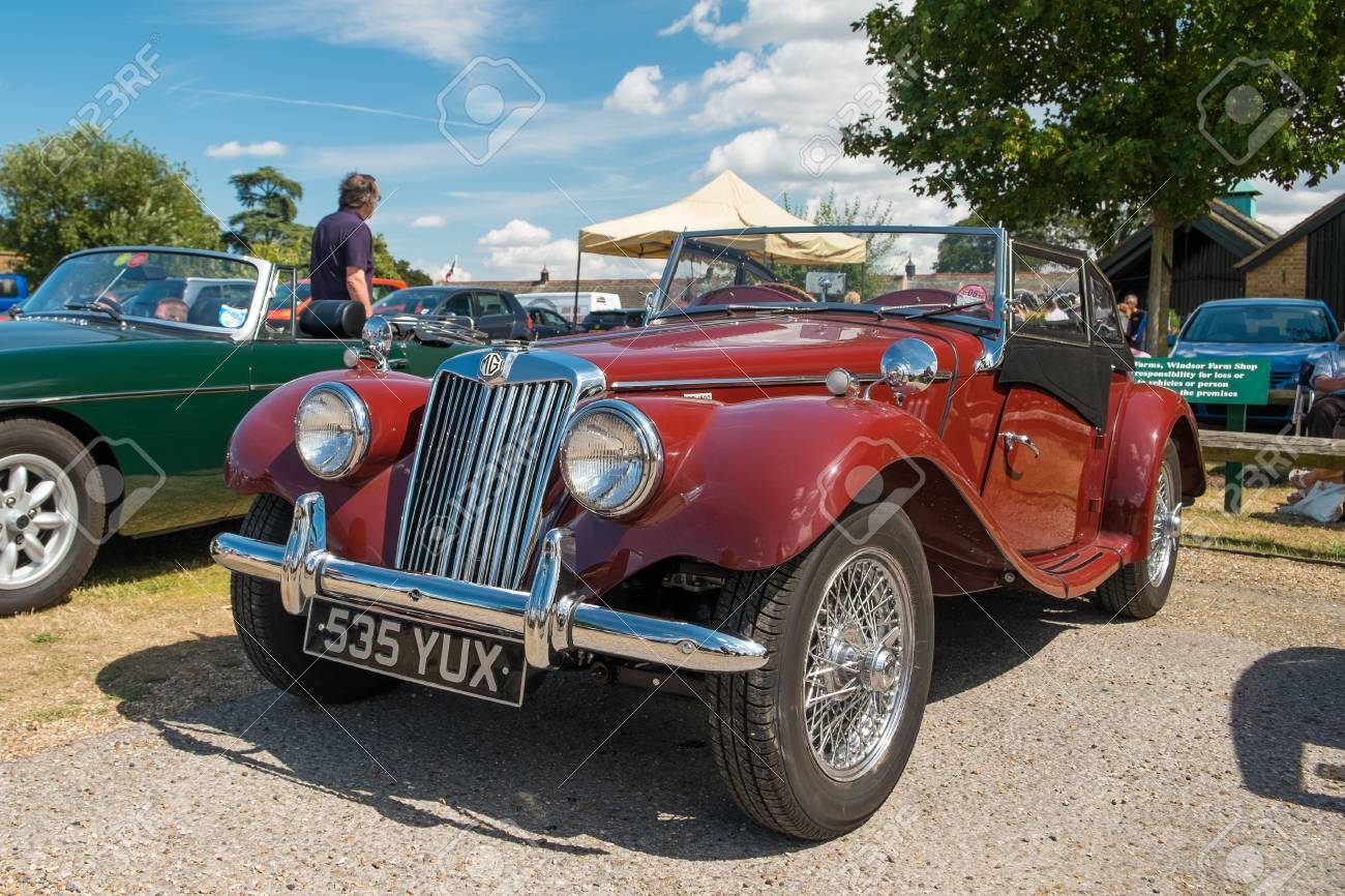 WINDSOR BERKSHIRE UK AUGUST 3 2014: Classic MG TF In Red On Show ...