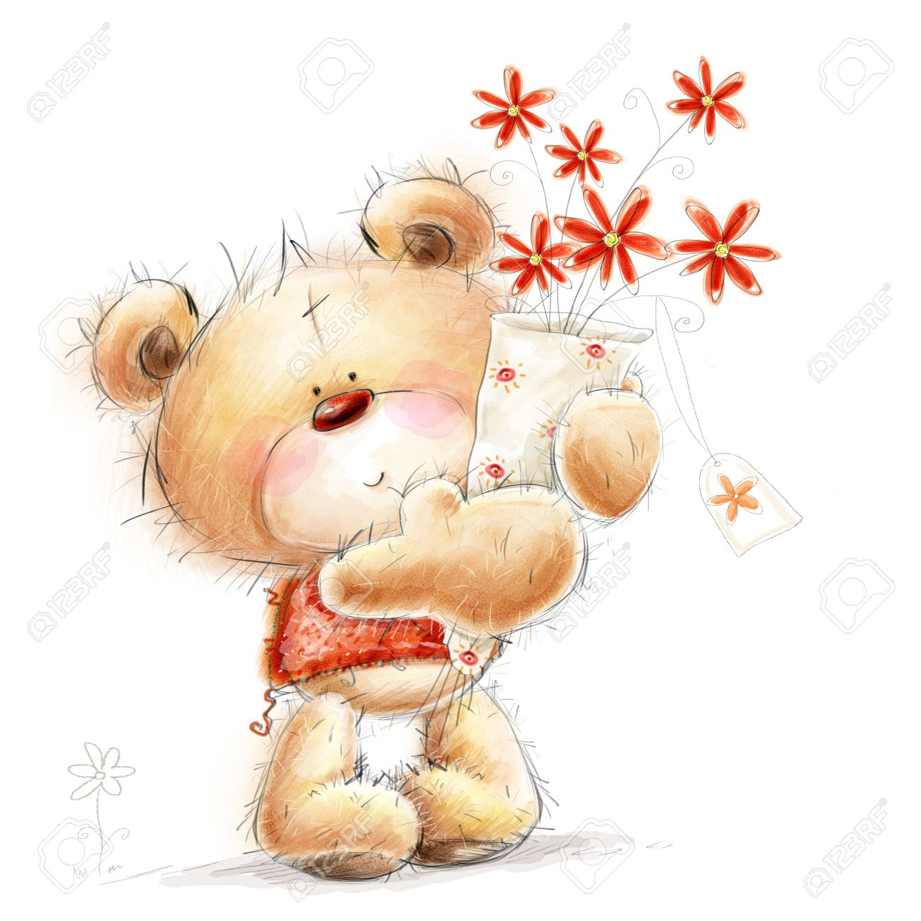 Cute Teddy Bear With The Red Flowers Background With Bear And