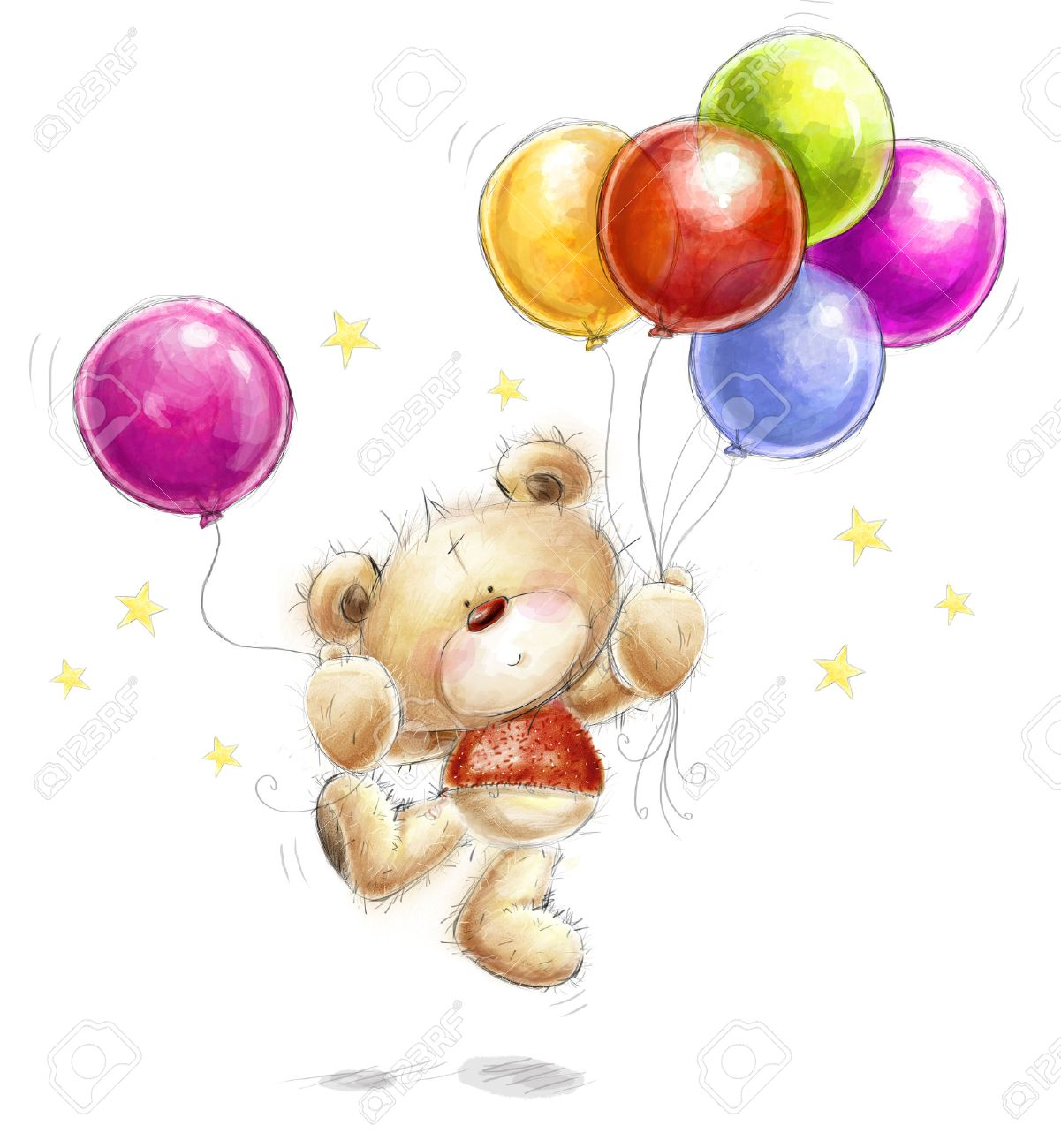 Cute Teddy Bear With The Colorful Balloons And Stars. Background ...