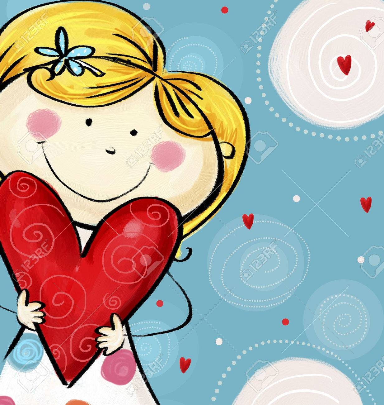 Te Amo Tarjeta Postal. Linda Chica Con El Corazón Grande. Día Card ...