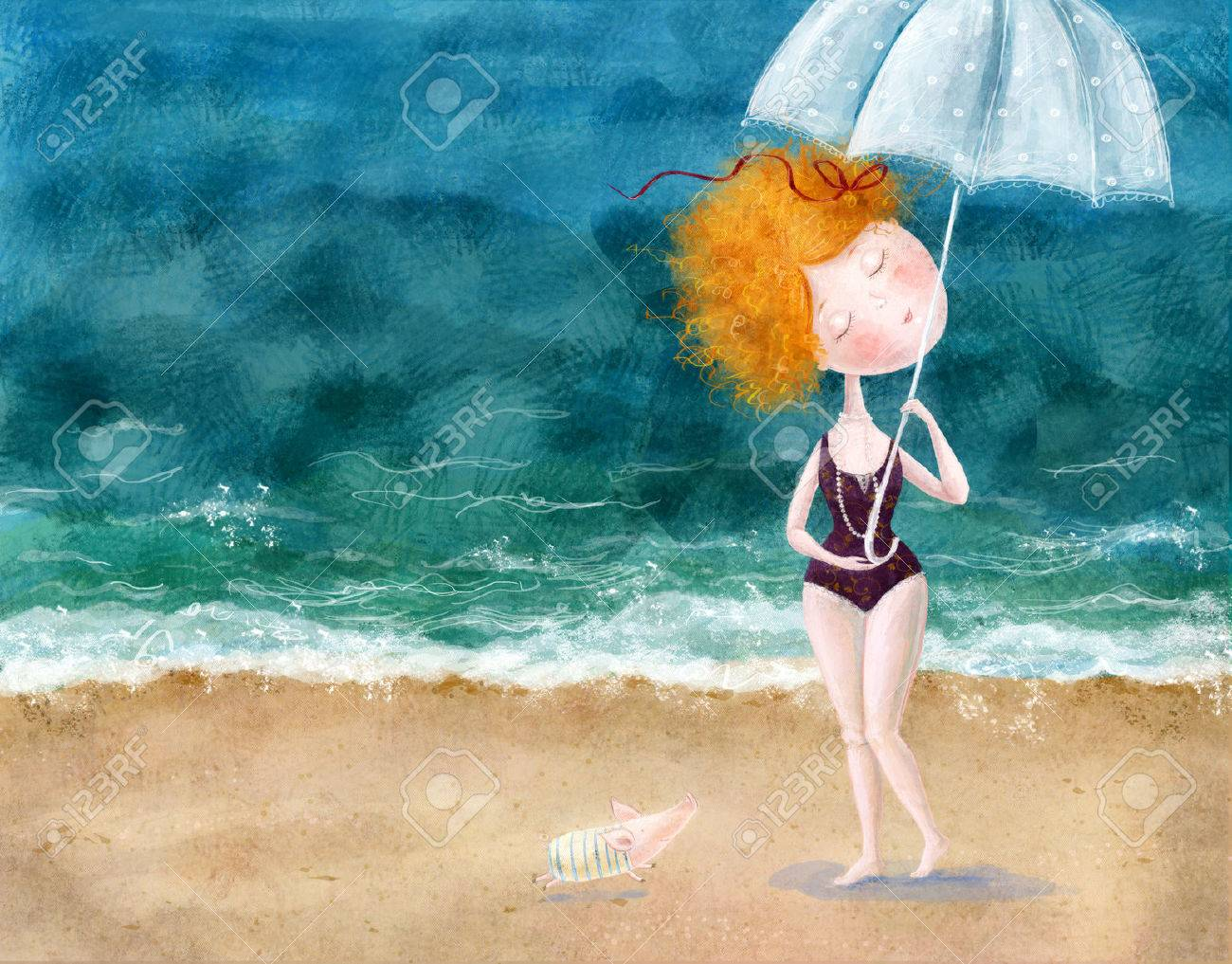 Cute Red Head Girl With Umbrella And Little Pig On The Beach