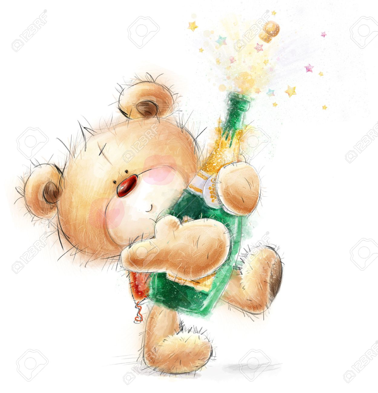 Cute Teddy Bear With The Bottle Of Close -up Champagne.Party.. Stock ...