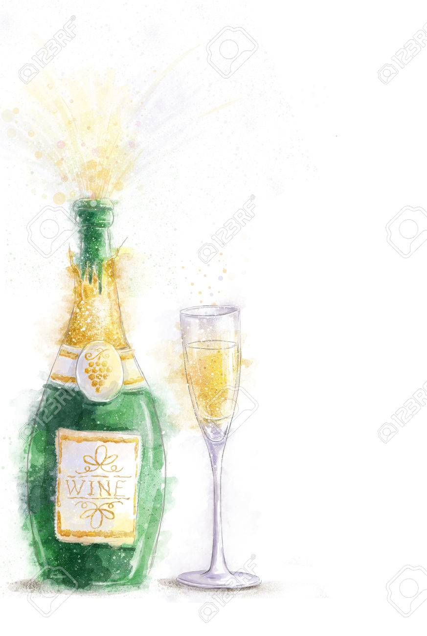 bottle of champagne with splashes isolated on white background with the glassparty invitation