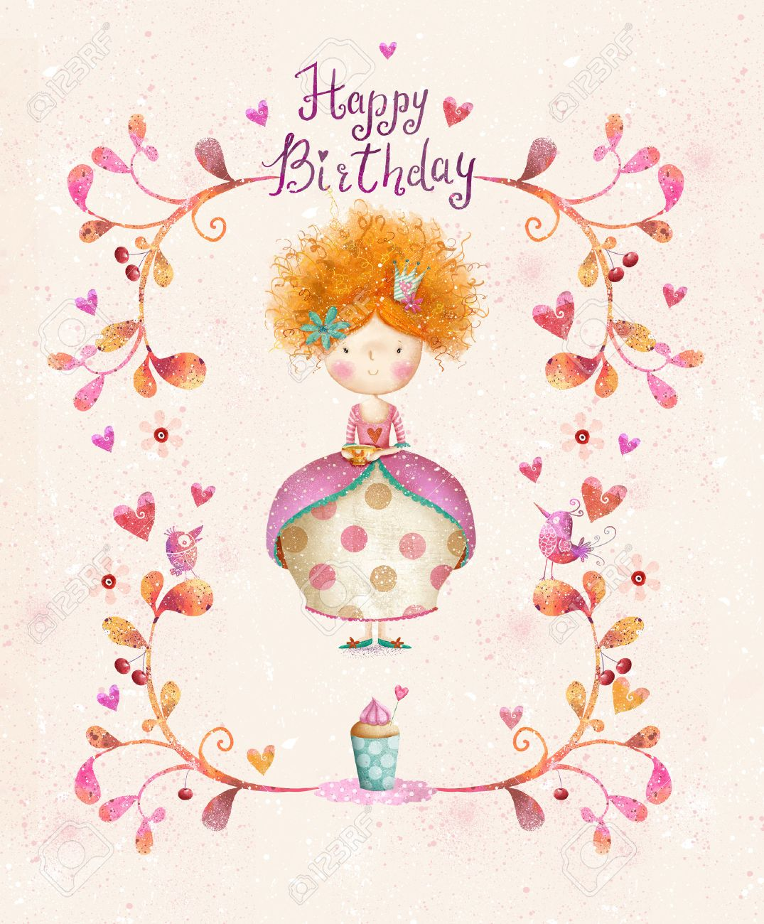 Awesome Happy Birthday Card In Cartoon Style Cute Small Princess – Happy Birthday Princess Card