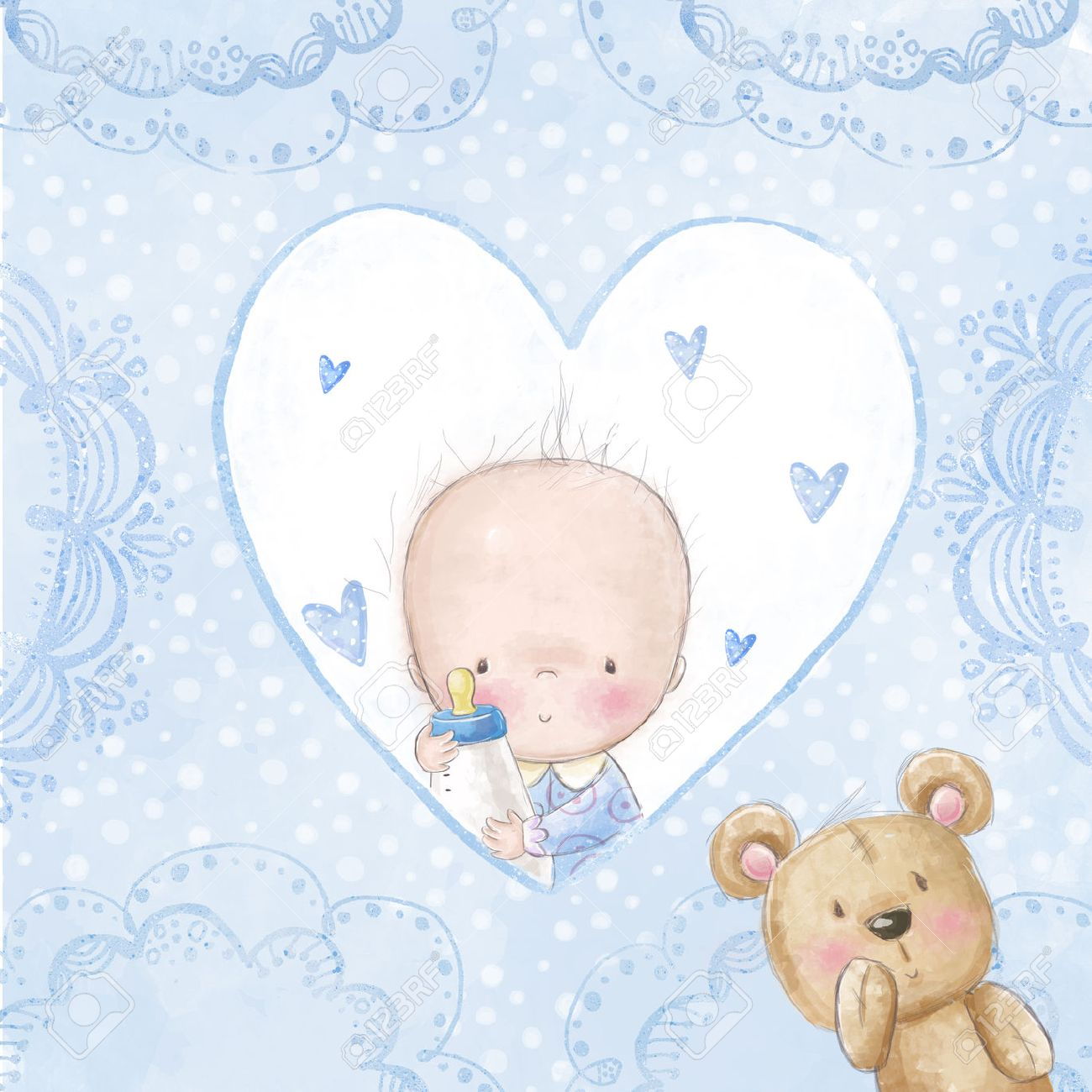 baby shower greeting cardbaby boy with teddylove background for
