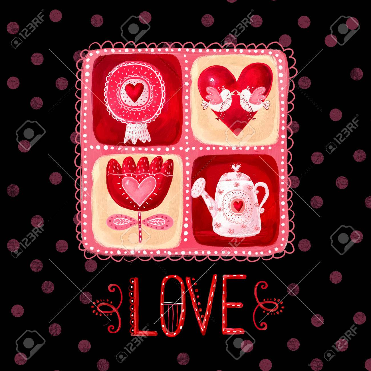 Love Greeting Card Design Elementve The Date Background Stock