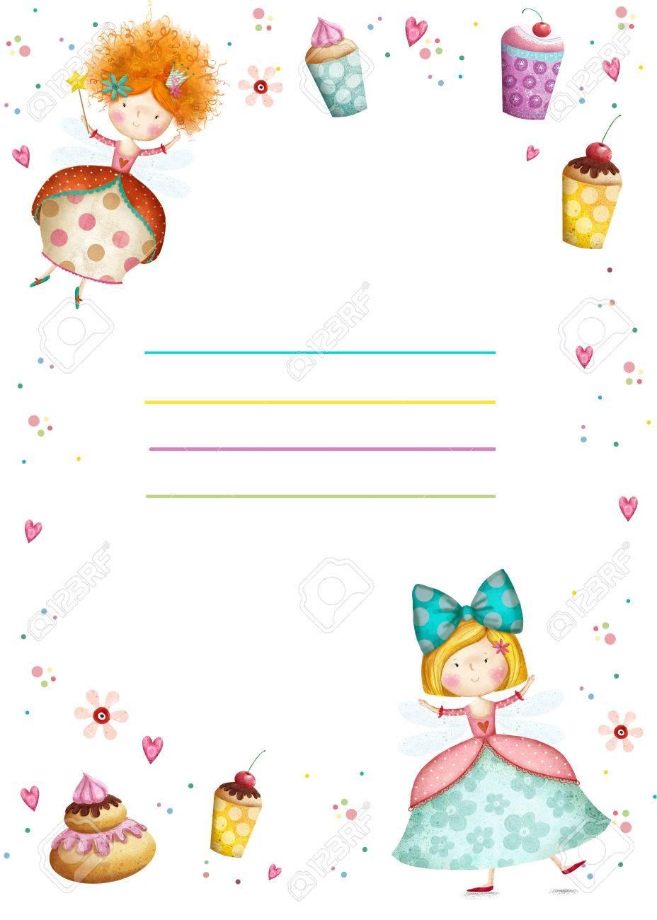 Happy Birthday Invitation Party Invitation Cute Small Princesses