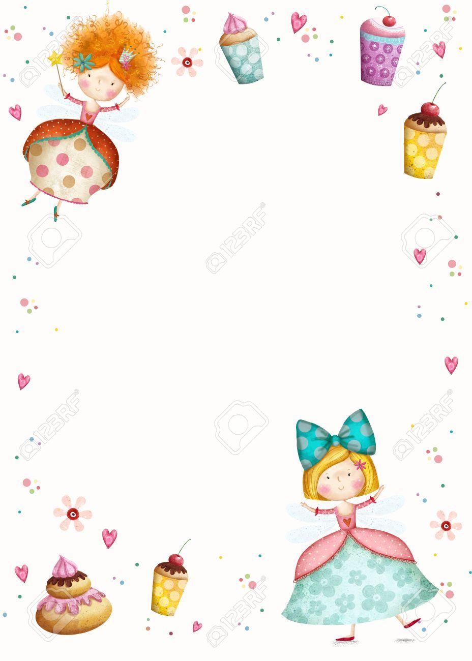 Happy Birthday Invitation.Party Invitation.Cute Small Princesses ...