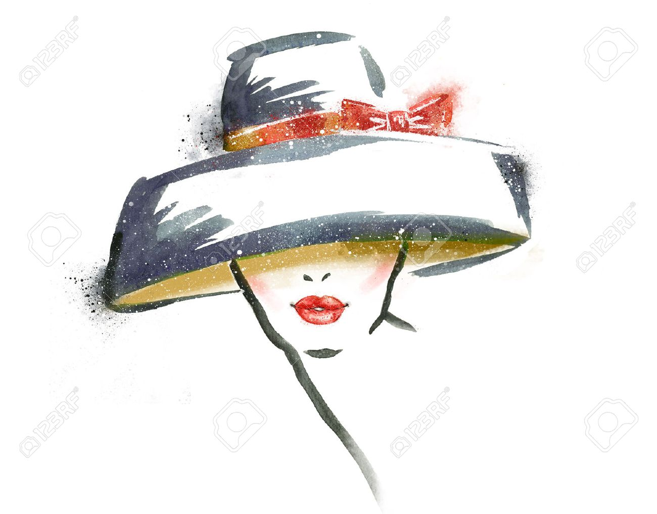 Woman portrait with hat .Abstract watercolor .Fashion illustration.Red lips Stock Photo - 43490204