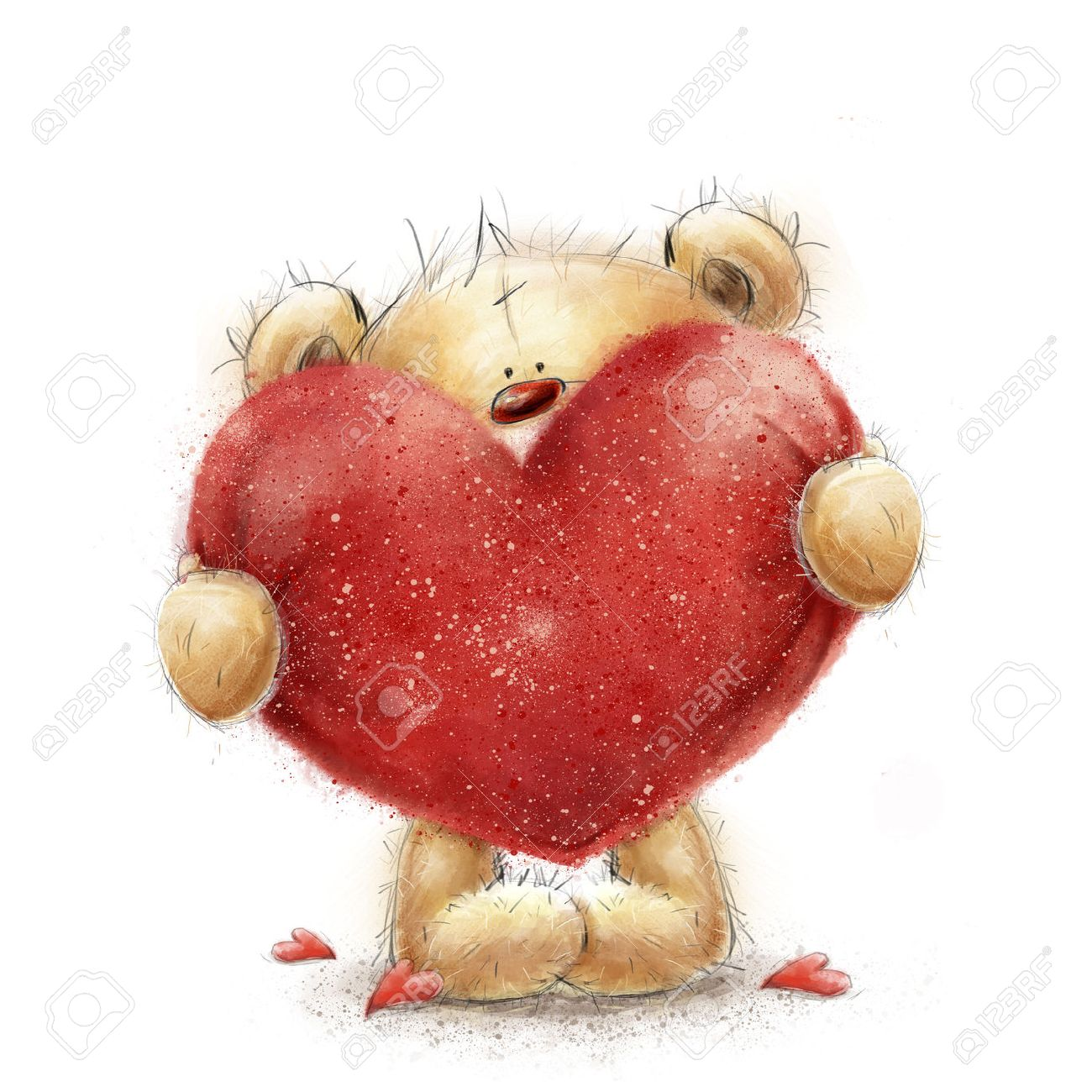 Teddy Bear With The Big Red Heart.Valentines Greeting Card. Love Design.Love