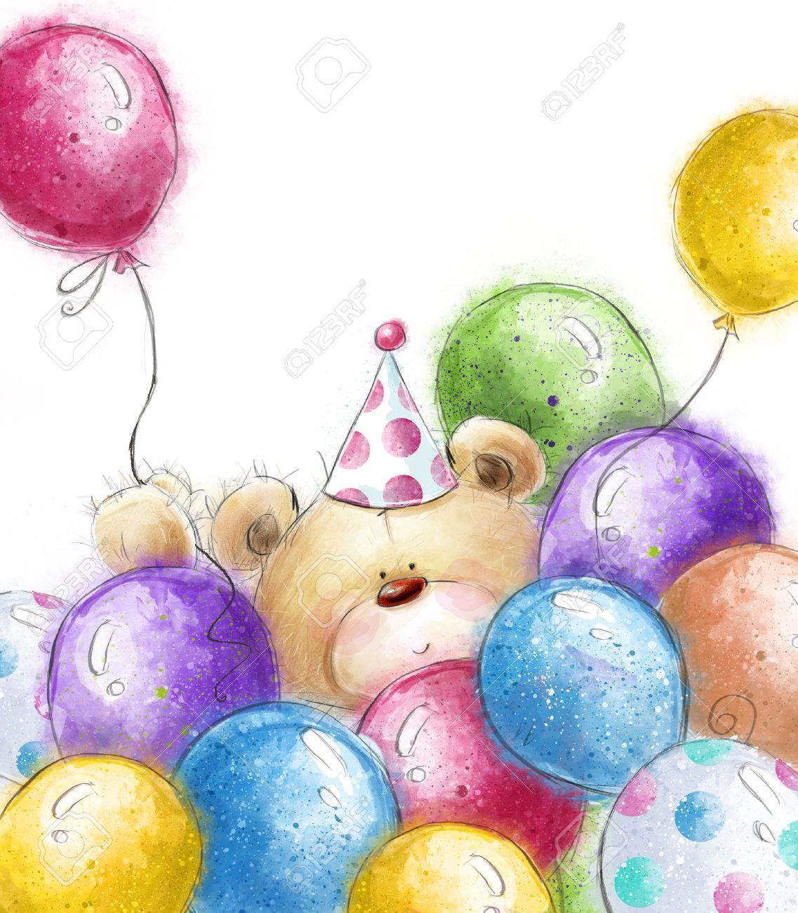 Cute Teddy Bear With The Colorful BalloonsBackground And BalloonsBirthday Greeting
