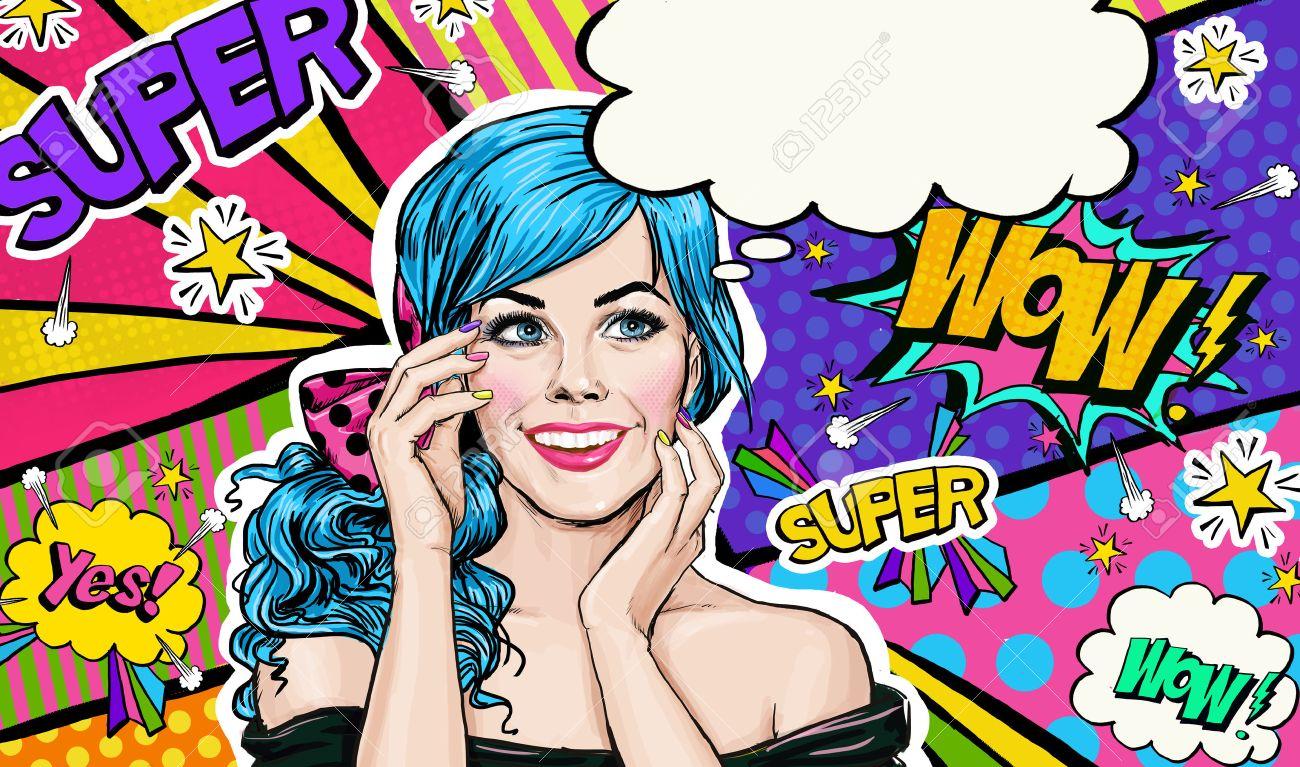 Pop art illustration of blue head girl on pop art backgroundpop pop art illustration of blue head girl on pop art backgroundpop art girl monicamarmolfo Choice Image