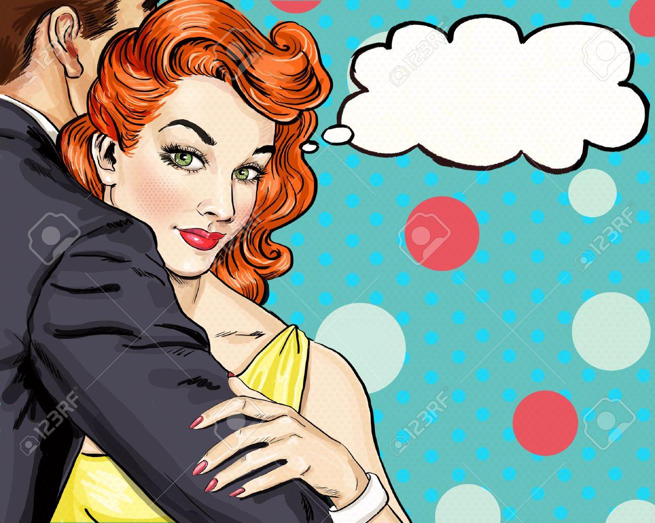 Love couple. Pop Art Couple.Pop Art love. Valentines day postcard. Hollywood movie scene. Love Pop Art illustration Pop Art love.  Real love. Movie poster. Comic book love. Mistress , cuddles, adorer Stock Photo - 54228823