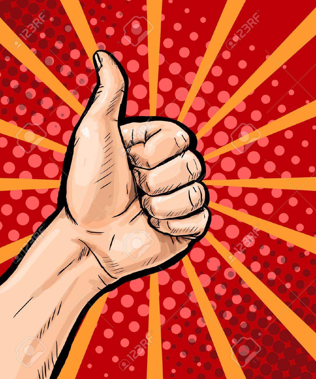 Closeup Of Male Hand Showing Thumbs Up Sign On Pop Art Background Poster