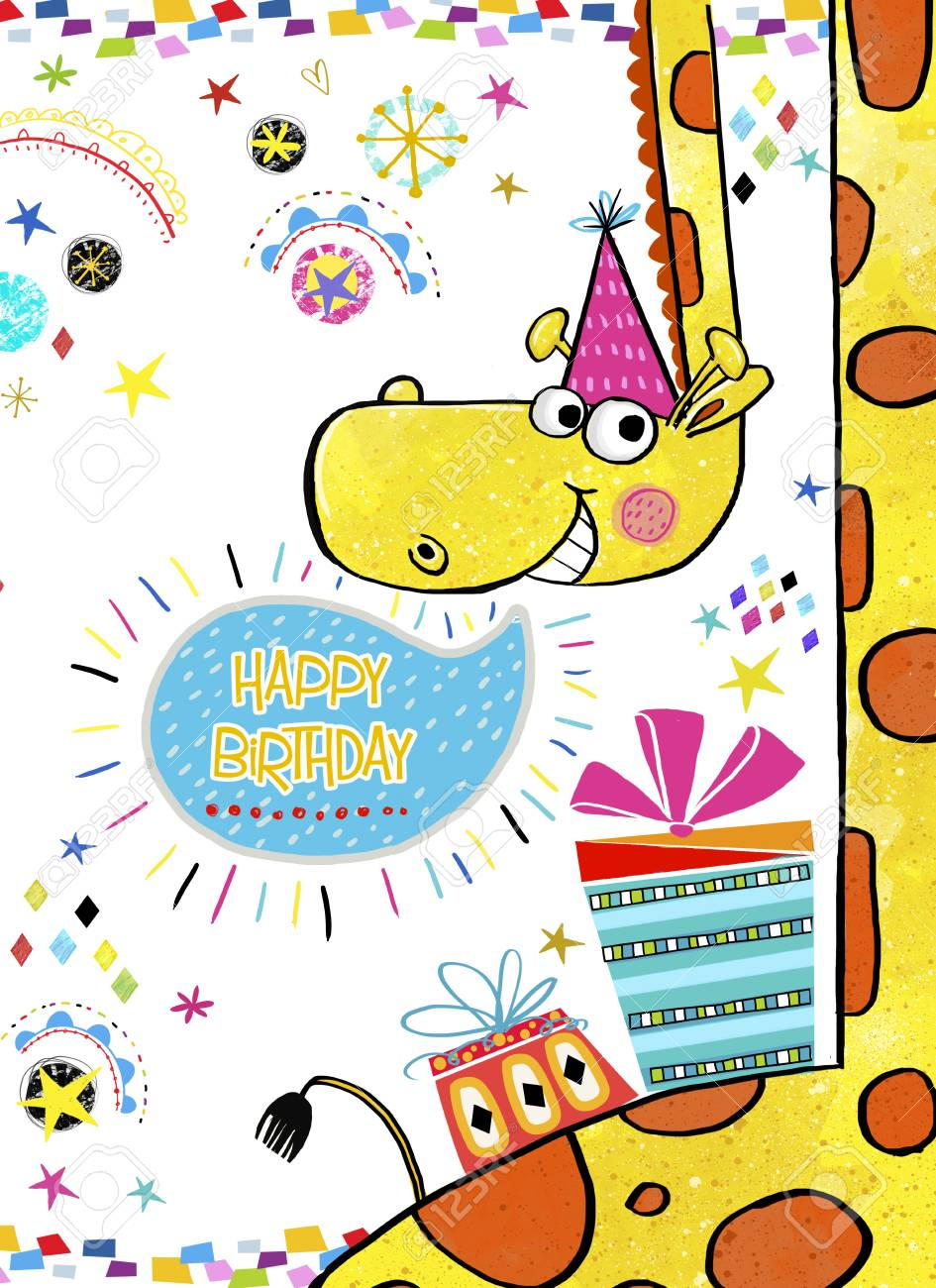 Giraffe With Gifts.Happy Birthday Invitation.Birthday Greeting ...
