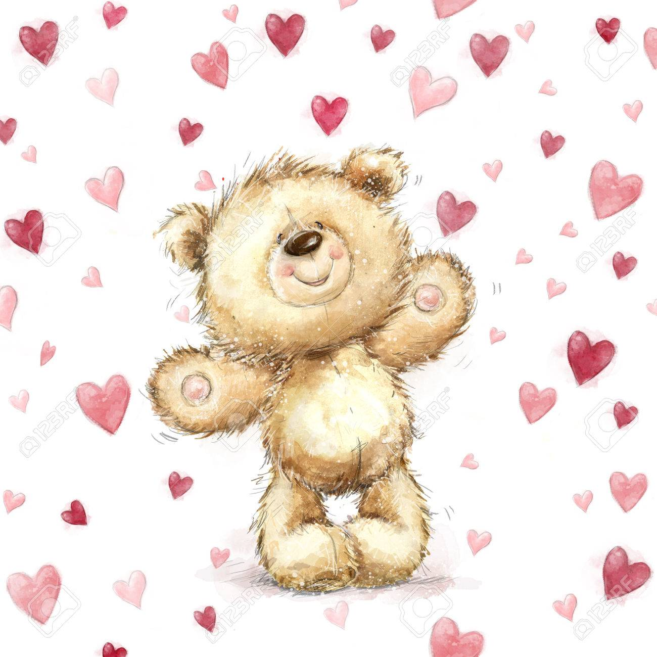 Teddy Bear With Red HeartsValentines Greeting Card Love Design
