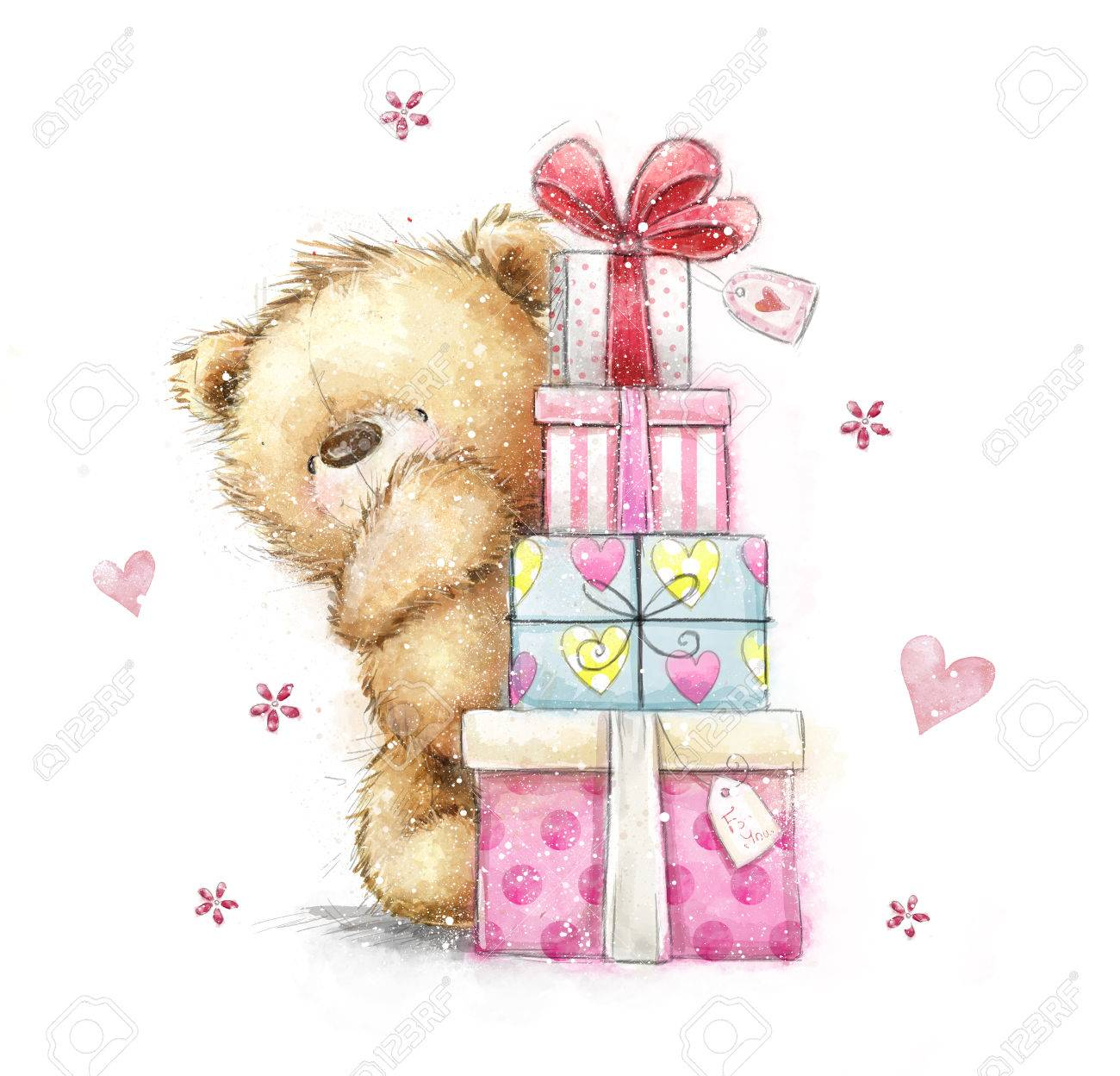 Teddy bear with the giftshand drawn teddy bear isolated on white stock photo teddy bear with the giftshand drawn teddy bear isolated on white background happy birthday card gifts bow gift boxes hearts bookmarktalkfo Images